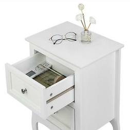2 Drawers Nightstand Storage Wood End Table Bedside Organize