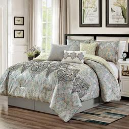 Chezmoi Collection 7-Piece Paisley Scroll Medallion Embroide