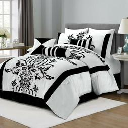 Chezmoi Collection 7-Piece White Black Flocked Floral Comfor