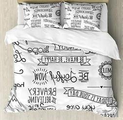 Ambesonne Adventure Duvet Cover Set Queen Size, Various Word