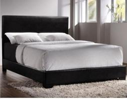 Bed Faux Leather Queen Bedroom Black Furniture Cal Headboard