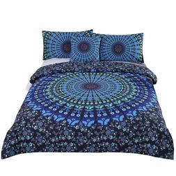 Blue Boho Bedding Set for Twin Bed 4 Pieces