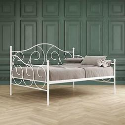 Full Size Daybed Metal Frame Adult Room Furniture White Bed