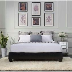Bowery Hill Faux Leather Platform King Bed Frame in Black