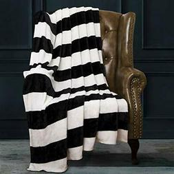 Flannel Throw Blankets Super Soft With Black And White Strip