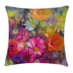Ambesonne Floral Throw Pillow Cushion Cover, Vibrant Flower