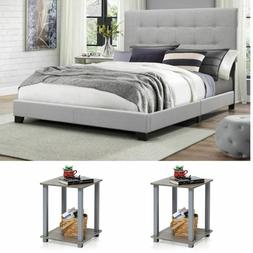 Queen Size Bedroom Set Grey Modern Furniture Bed Headboard W