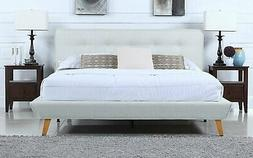Ivory Linen Low Profile Platform Bed Frame with Tufted Headb