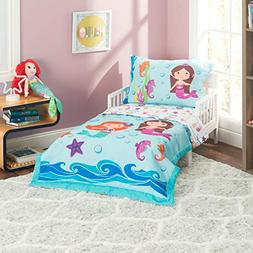 Everyday Kids 4 Piece Toddler Bedding Set -Undersea Mermaids