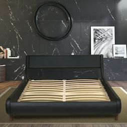 King/ Queen/ Full Size Bed Frame, PU-Leather Headboard Pla