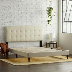 KING SIZE PLATFORM BED Wood Frame Tufted Headboard Bedroom G