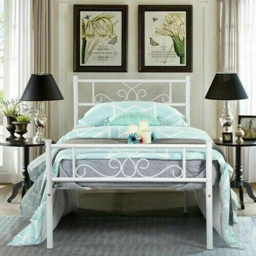 foundation with headboard and footboard white twin