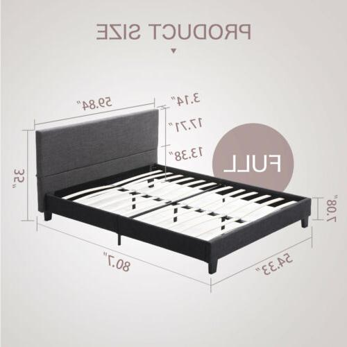 Full Platform Bed Frame Gray Headboard Slats