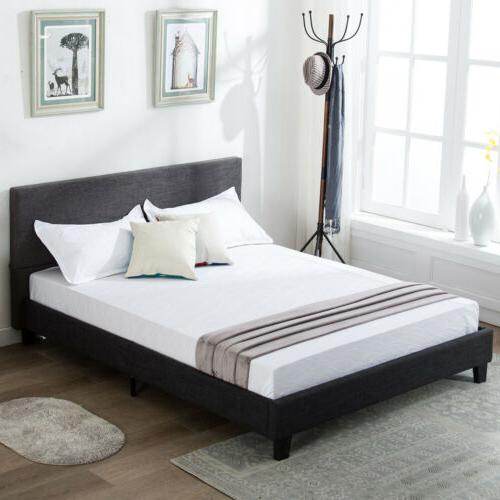 full size platform bed frame upholstered gray
