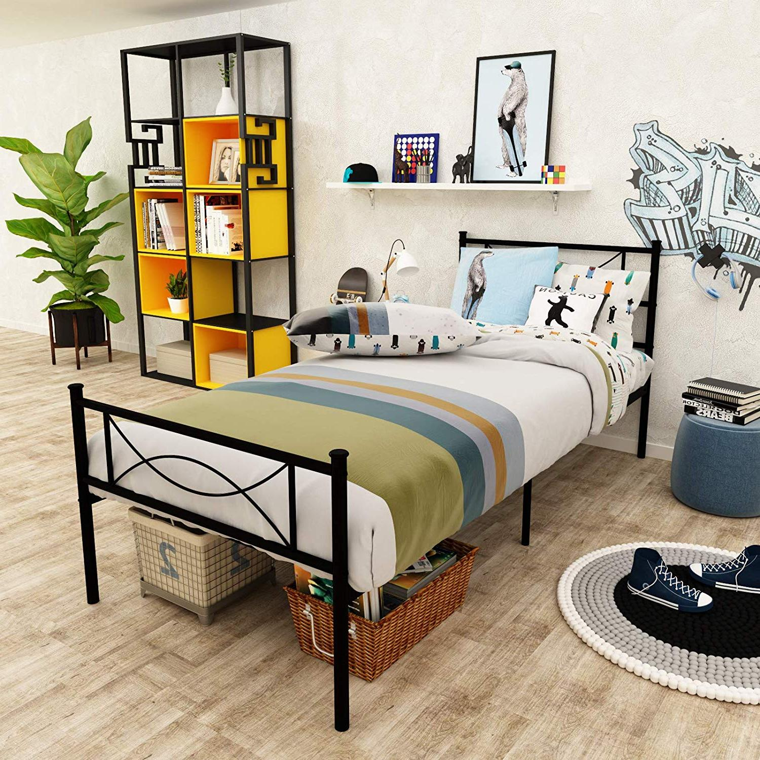 Metal Platform Twin Kids Bed Frame With Two Bowknot Headboar