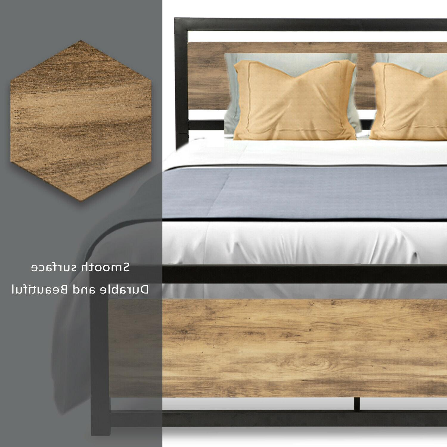 Full Size Metal Bed Headboard Brown