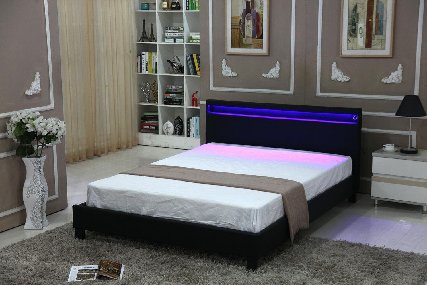 QUEEN SIZE Modern Bed Frame Bedroom Platform w/LED Light Hea