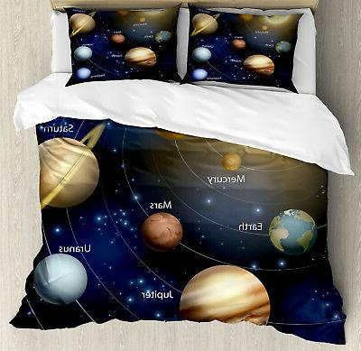 space duvet cover set with pillow shams