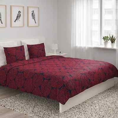 Ikea Full/Queen Cover Pillowcases Bed Set Dark Red