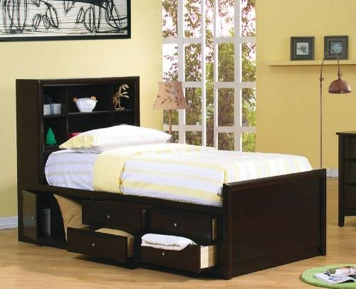 twin bookcase chest bed cappuccino