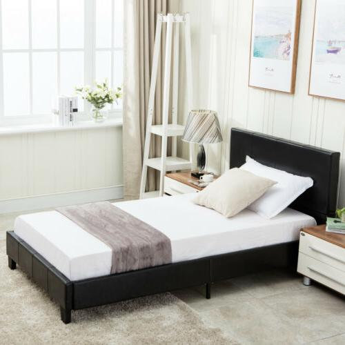Twin Queen Leather Frame & Slats Upholstered Headboard