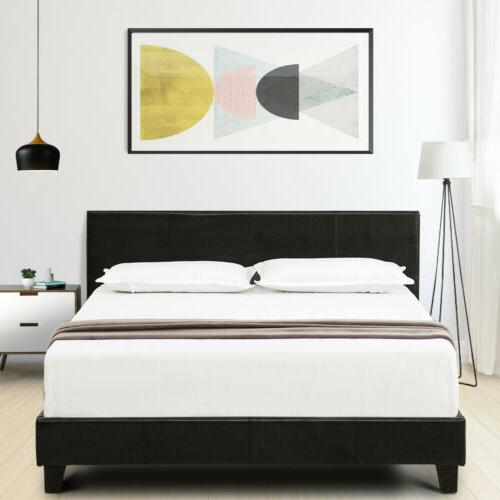 Twin Leather Platform Bed Frame & Slats Headboard