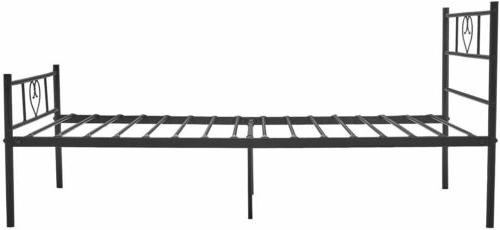 Twin Size Metal Frame Black Mattress Foundation with Footboard