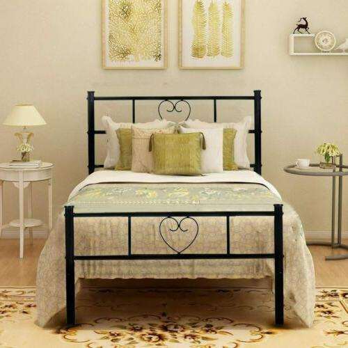 Twin Size Metal Bed Frame Black Mattress Foundation with Hea