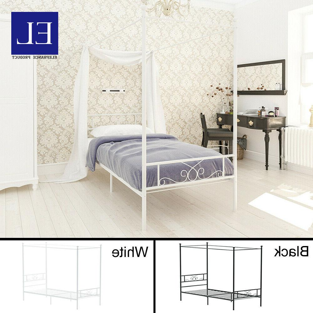 twin size metal canopy bed frame mattress