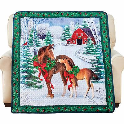 winter holiday wreathed horses quilted throw