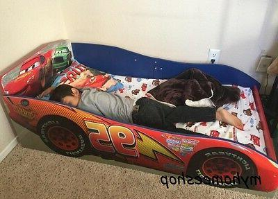 Wood Toddler Bed McQueen Race Car Safety Rails Red Kids Bedr