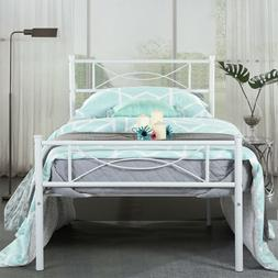 Metal Bed Frame Twin Size Mattress Foundation Headboards for