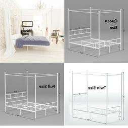 Metal Canopy Bed Frame Queen Full Twin Mattress Foundation P