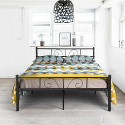 Metal Full Size Bed Frame with Headboard Mattress Foundation