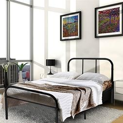 Metal Bed Frame Twin Size Black Headboard Platform Mattress