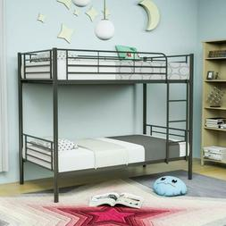 Metal Bunk Beds Frame Twin over Twin Ladder for Kids Adult C