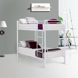 Metal Twin over Twin Bunk Beds Frame w/Ladder Child Adult Do