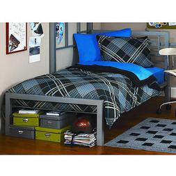 Modern Metal Platform Twin Bed Frame with Headboard and Foot