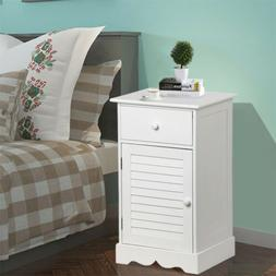 Nightstand Storage Wood End Table Bedside Organizer w/One Dr