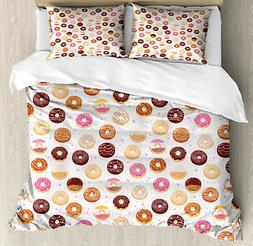 Pink Duvet Cover Set with Pillow Shams Colorful Yummy Donuts