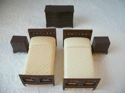 Renwal Plasco Bedroom Dollhouse Furniture Lot Beds with Nigh