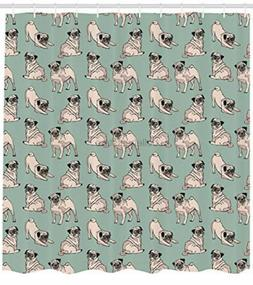 Ambesonne Pug Shower Curtain, Dogs with Various States sc_41