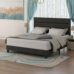 Queen Bed Frame, Upholstered Platform Bed with Headboard, Wo