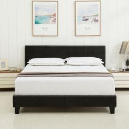 Queen Faux Leather Platform Bed Frame Upholstered Headboard