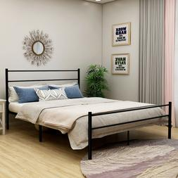 Queen/Full/Size Bed Frame Metal Platform Foundation With Hea
