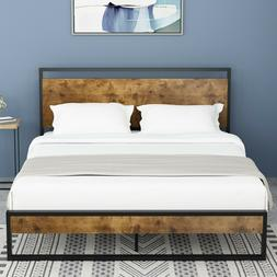 QUEEN FULL TWIN Platform Metal Bed Frame With Wood Headboard