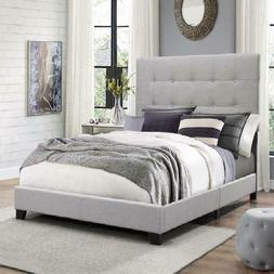Twin Size Platform Bed Frame w/ Tufted Headboard Gray Uphols