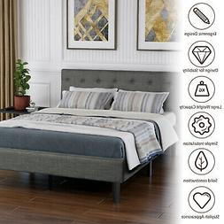Queen Size Upholstered Button Tufted Platform Bed Frame Stro