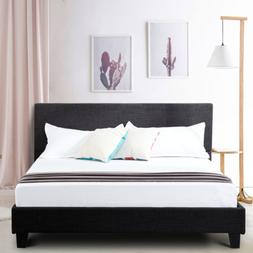 Queen Size Upholstered Linen Platform Bed Frame Headboard w/