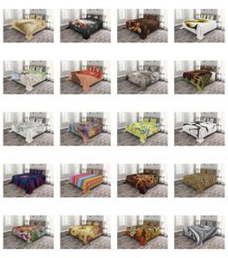 Ambesonne Quilted Bedspread Set with Shams Decorative Printe